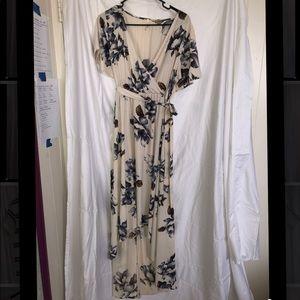 High/Low hem faux wrap dress